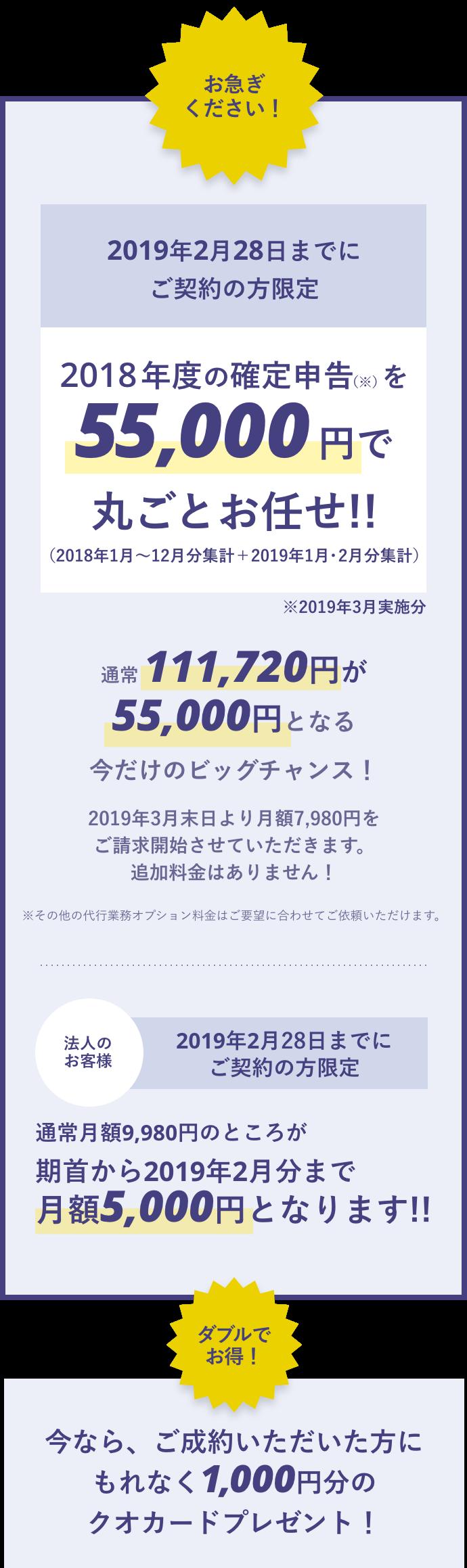 2018年度の確定申告を(2019年3月実施分)35,000円で丸ごとお任せ!!